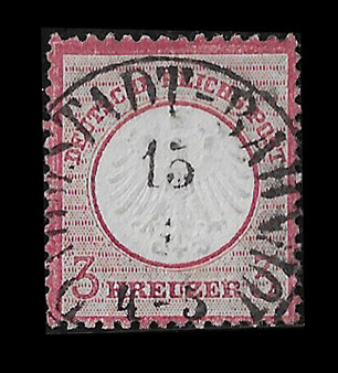 1872 #9 Small Shield 3 Kreuzer Cancelled