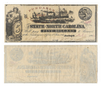 Civil War Era Note 1862 North Carolina $5 Bill