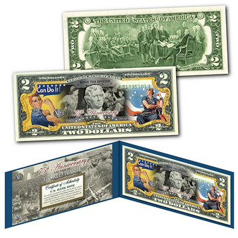 75th Anniversary End of World War II Colorized $2 Bill Rosie the Riveter