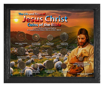 """Life & Times Of Jesus Christ """"Baby Sheep"""" Historical Replica Set in 8"""" x 10"""" Frame - H"""