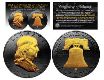 Black Ruthenium Clad 1963 Silver Ben Franklin Half Dollar with 24K Gold Portrait