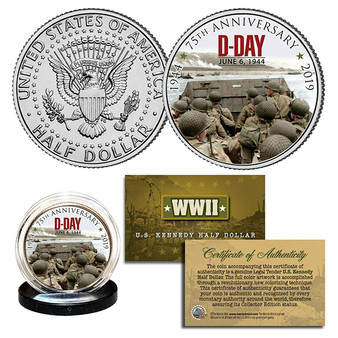 D-Day Normandy Landings 75th Anniversary Commemorative Colorized JFK Half Dollar