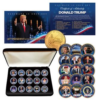 Donald Trump 15-Coin 24K Gold Washington DC Quarter Coin Set