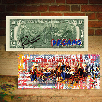 Declaration of Independence DREAMS Signed by RENCY Official $2 Bill - Limited Edition of 20