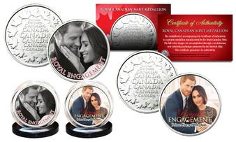 Prince Harry & Meghan Markle Royal Engagement Colorized Canadian RCM 2 Medallion Set