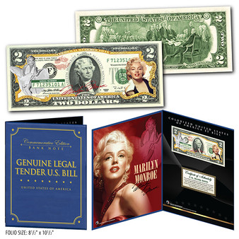 """Marilyn Monroe Commemorative Colorized $2 Bill in Deluxe in 8"""" x 10"""" Collector's Display"""