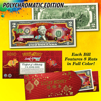 2020 Year of the Rat Polychromatic 8 Rats Colorized $2 Bill in Red Envelope