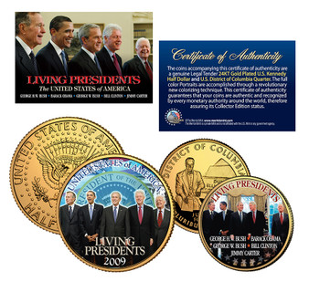 Living Presidents Colorized JFK and State Quarter 2 Coin Set