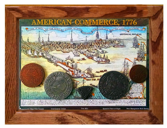 "American Commerce 1776 5 Coin Set of Historical Replicas in 5"" x 7"" Frame"