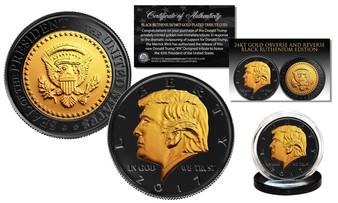 Donald Trump 45th President Black Ruthenium & 24K Gold Tribute Coin
