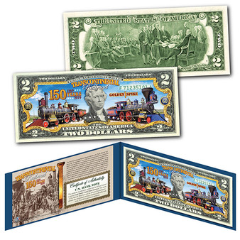 Transcontinental Railroad 150th Anniversary Colorized $2 Bill