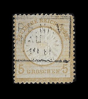 1872 #22 Large Shield 5 Groschen Cancelled