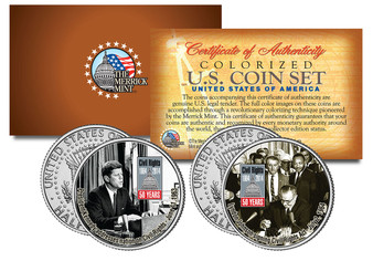 Civil Rights Act of 1964 50th Anniversary Colorized JFK Half Dollar 2 Coin Set