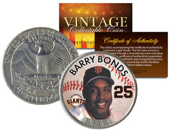 Barry Bonds Birth Year Vintage Series Colorized 1964 Silver Quarter