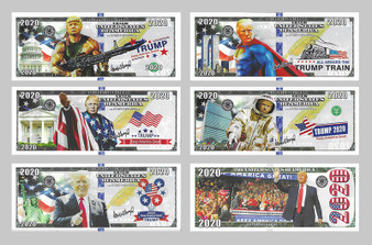 Complete Set of 5 Trump 2020 Keep America Great Color Plastic Ticket Banknotes in Clear Sleeves