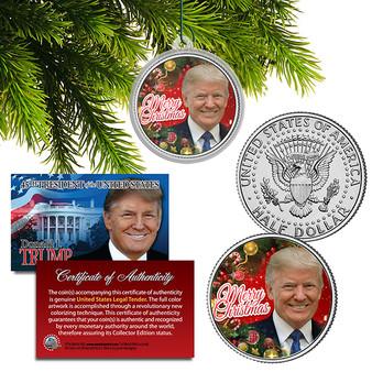 Donald Trump Merry Christmas Colorized JFK Half Dollar Christmas Ornament