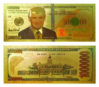 President Trump 24K Gold Foil $1 Million Novelty Bill