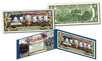 American Civil War Famous Union Generals Commemorative Colorized $2 Bill