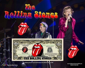 """""""The Rolling Stones"""" Novelty Million Dollar Bill Obverse Display on an 8"""" x 10"""" Display Card"""
