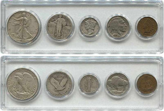 5 Coin Standing Liberty Type Set