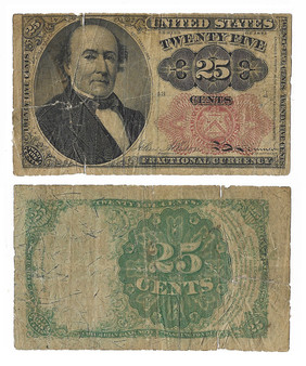 Post Civil War Fractional Currency 1874 25 Cent Note - A