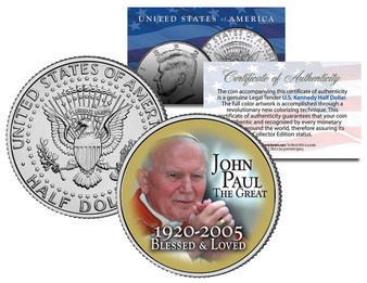 Pope John Paul II Colorized 2005 JFK Half Dollar