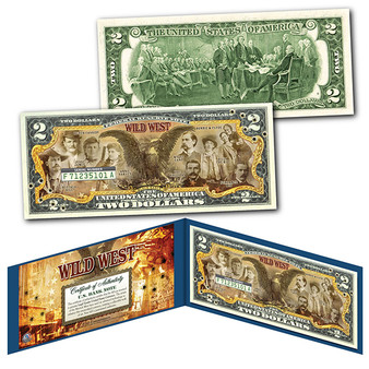 WILD WEST Outlaws & Gunfighters of the Old West Commemorative Colorized $2 Bill