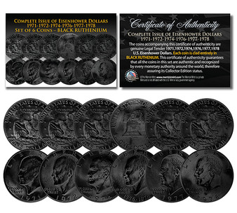 """Eisenhower """"Ike"""" Dollars 6 Coin Set Black Ruthenium Plated Complete Set of all Years 1971-1978 With Capsules"""