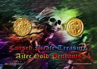 "Cursed Pirate Treasure Replica Aztec Gold Pendants 2 Medallion Set on 5"" x 7"" Display Card"