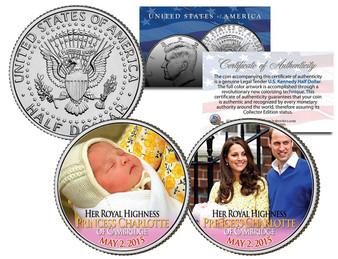 Princess Charlotte Of Cambridge JFK Half Dollar 2 Coin Set