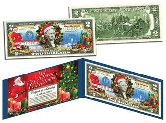 Merry Christmas Santa Colorized $2 Bill