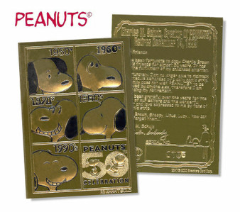 Peanuts 50th Anniversary 23K Gold Sculptured Card