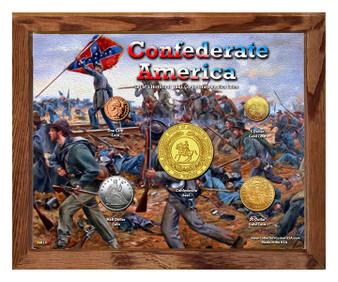 """Confederate America Historical Replica Set in 8"""" x 10"""" Frame"""