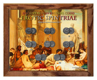 "Ancient Roman Brothel Coins Erotic Spintriae Set #1 in 8"" x 10"" Frame"