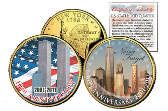 9/11 10th Anniversary New York State Quarter 24K Gold Plated & Colorized 2 Coin Set