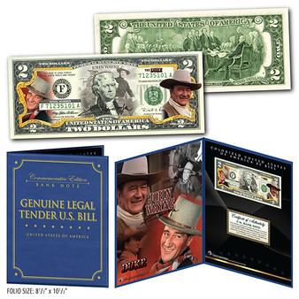 "John Wayne The Duke Commemorative Colorized $2 Bill in 8"" x 10"" Collector's Display"
