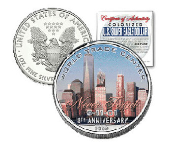 2009 8th Anniversary World Trade Center 9/11 Commemorative Silver Eagle with Case