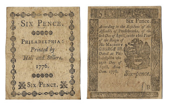 Colonial Note 1776 Philadelphia 6 Pence April 25, 1776 Printed by Hall & Sellers