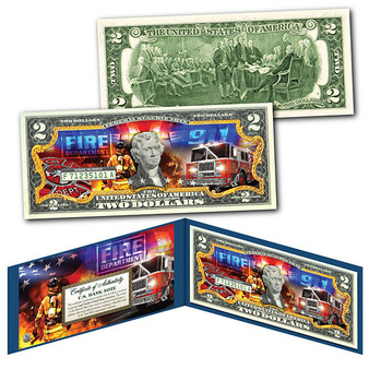 FIRE DEPARTMENT Firefighters Emergency Response Colorized $2 Bill - The Bravest