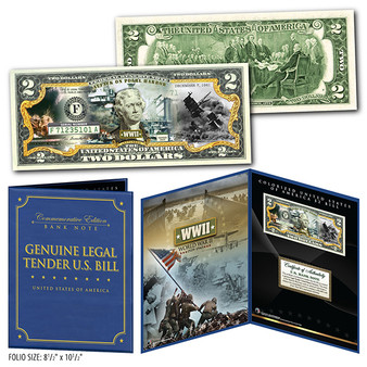 "Attack on Pearl Harbor Commemorative Colorized $2 Bill in 8"" x 10"" Collector's Display"