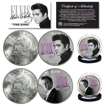Elvis Presley Icon 1976 Bicentennial Eisenhower Dollar 2 Coin Set