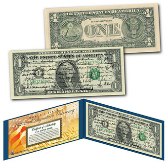All 45 U.S. President Signatures Colorized $1 Bill
