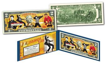 Elvis Presley Jailhouse Rock Commemorative Colorized $2 Bill