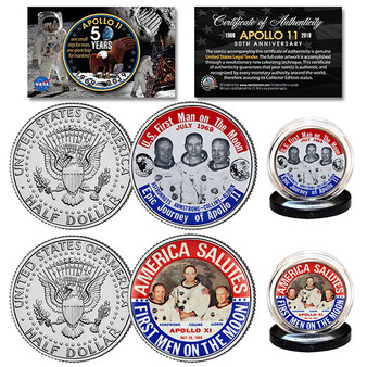 Apollo 11 50th Anniversary JFK Half Dollar 1969 Astronaut Button 2 Coin Set