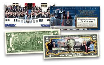Donald Trump 2017 Official Inauguration Commemorative Colorized $2 Bill