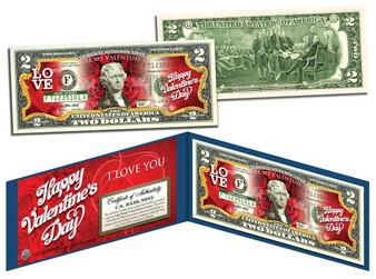 Happy Valentine's Day Colorized $2 Bill