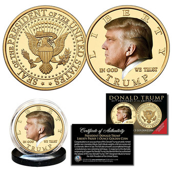 Donald Trump 45th President Colorized Liberty Proof Golden Tribute 1 Oz. Coin