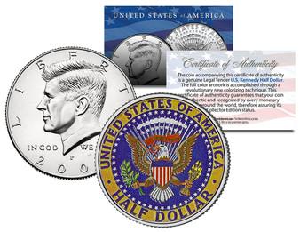 Rear Colorized JFK Kennedy Half Dollar