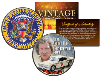 Dale Earnhardt Chevelle #8 First Asphalt Win Colorized 1964 Kennedy Silver Half Dollar Coin