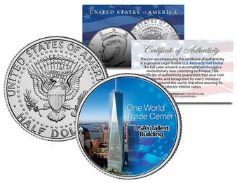 One World Trade Center *America's Tallest Building* Colorized JFK Half Dollar